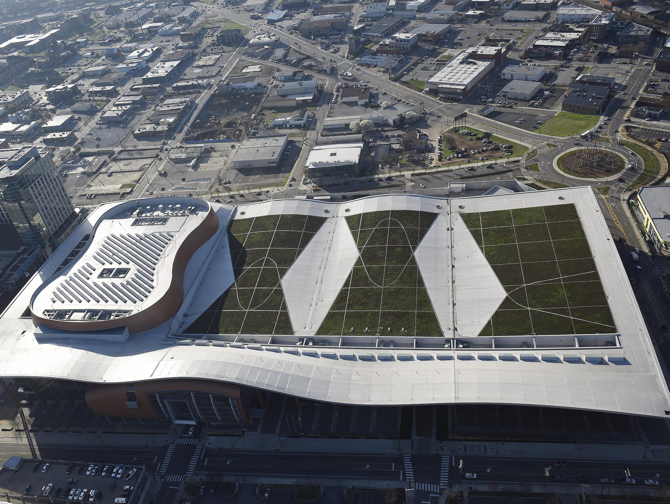 An aerial view of the Music City Center Tuesday morning