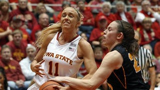 Iowa State's Jadda Buckley (left) and Iowa's Samantha Logic will have a rematch on Dec. 11 when the Cyclones play in Iowa City.