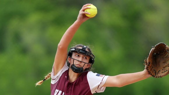 Valhalla's Jillian Caldorola pitching against Rye Neck in the Section 1 Class B championship at North Rockland High School  May 27, 20173 Valhalla won the game 11-0.