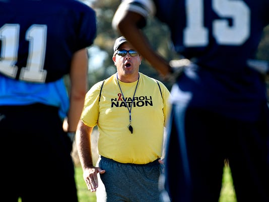 Dallastown's Head Coach Kevin Myers during football practice in Dallastown, Pa. on Wednesday, Sept. 23, 2015. Dawn J. Sagert - dsagert@yorkdispatch.com