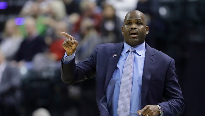 Indiana Pacers head coach Nate McMillan calls a play during the second half of an NBA basketball game against the Chicago Bulls, Saturday, Nov. 5, 2016, in Indianapolis. Indiana won 111-94.
