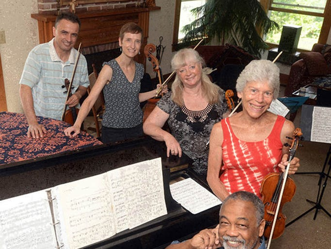 Chanticleer String musicians this year are violinist Stefan Xhori, left, Elizabeth Gottling Mendoza, cello,  Jennifer Smith, viola, Caroline Klemperer-Green, violin, and William Foster McDaniel - Guest Pianist.