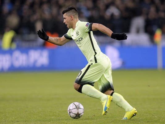 Manchester City's Sergio Aguero controls the ball during the Champions League round of 16 first leg soccer match between Dynamo Kiev and Manchester City at the Olympiyskiy stadium in Kiev, Ukraine, Wednesday, Feb. 24, 2016. (AP Photo/Efrem Lukatsky)