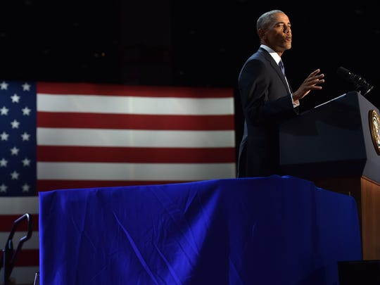 US President Barack Obama speaks during his farewell address in Chicago, Illinois on January 10, 2017. Barack Obama closes the book on his presidency, with a farewell speech in Chicago that will try to lift supporters shaken by Donald Trump's shock election. / AFP / Nicholas Kamm        (Photo credit should read NICHOLAS KAMM/AFP/Getty Images)