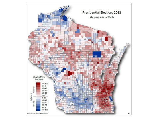 Results of the November 2012 presidential election by voting ward