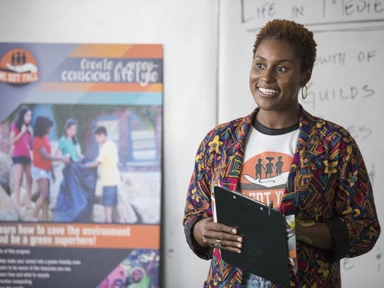 "Issa Rae in a scene from ""Insecure,"" premiering on"