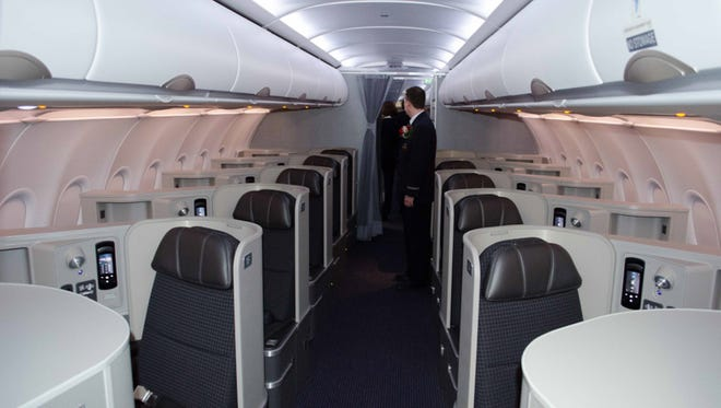 A shot of the first-class cabin inside American's new Airbus A321 aircraft.
