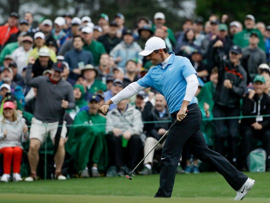 Rory McIlroy is pumped up after sinking a birdie putt