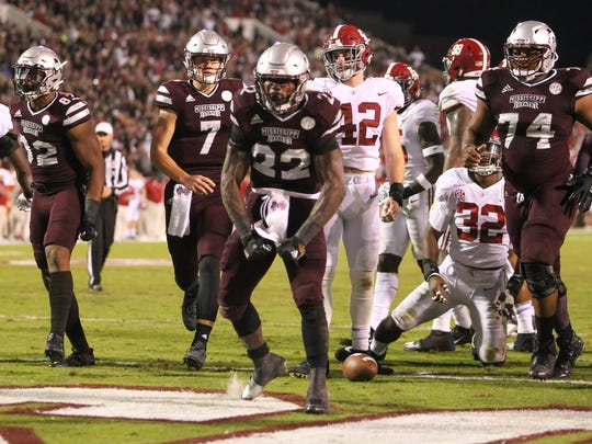Mississippi State's Aeris Williams (22) celebrates after scoring a touchdown Saturday in Starkville.