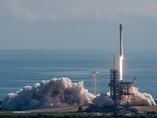 A SpaceX Falcon 9 rocket launches with the Air Force's