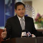 Sen. Marco Rubio, R-Fla., speaks to reporters on June 3, 2016 in Doral, Fla.