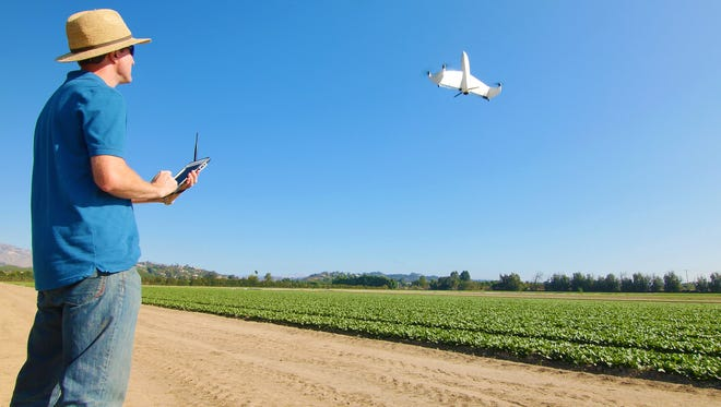 AeroVironment's Quantix drone is flight tested over a farm. The drone is set to be released in spring 2017.