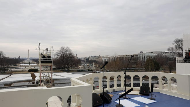 The inaugural platform is seen at the U.S. Capitol in preparation for the upcoming inauguration of President-elect Donald Trump on Friday.