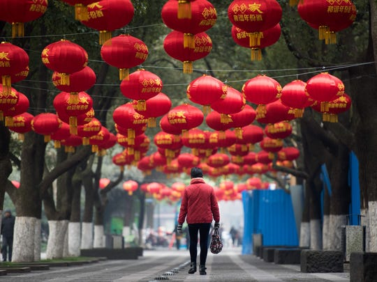 ]This street is decorated with red lanterns ahead of the Lunar New Year in Changzhou, China. This years Festival is theYear of the Monkey and is China's most important holiday centered around family reunions and falls on Feb. 8.