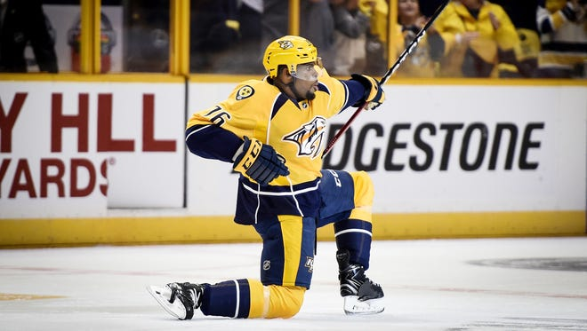 P.K. Subban scores the Predators' first goal In his highly anticipated debut in the team's opening-night home victory against the Chicago Blackhawks on Oct. 14, 2016.