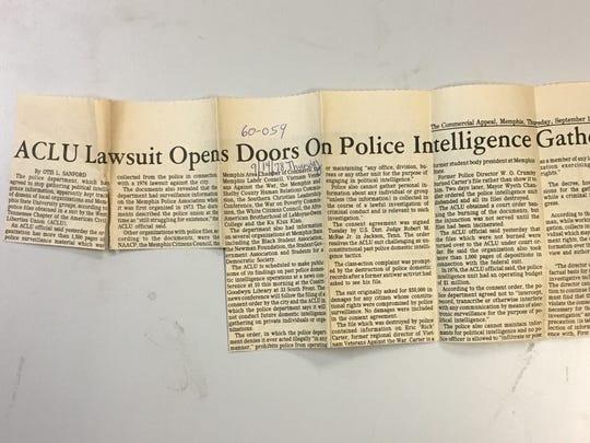 An archival news clipping from The Commercial Appeal covers the 1978 ACLU settlement over the Memphis Police Department's political intelligence gathering.