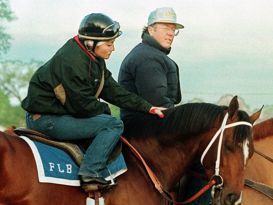 Trainer Frank Brothers (right) oversees a workout of Pulpit prior to the Kentucky Derby in 1997. Brothers will be the first trainer inducted into the Louisiana Sports Hall of Fame next summer.