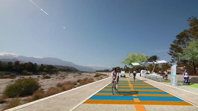 A rendering of the proposed $100 million, 50-mile CV Link multi-use path that would run from Palm Springs to the Salton Sea.