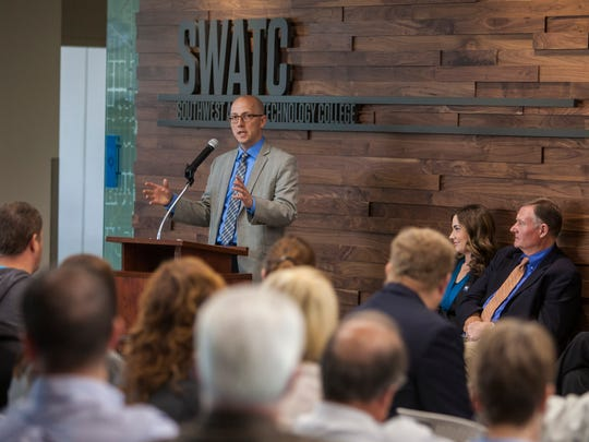 Brennan Wood, president of Southwest Applied Technology College, speaks at the ribbon-cutting ceremony for SWATC, Thursday, March 31, 2016.