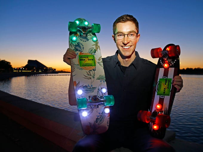 ASU alum and entrepreneur Greg Rudolph, 23, shows off
