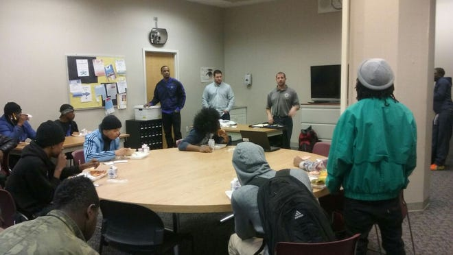 Jason Requa Training Co-ordinator for Bricklayers Local 3 along with Apprentices, Curtis Monroe and Tom Sulli speak to the students at the New Beginnings School.
