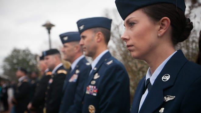 Hundreds attend the 2015 Veterans Day service at the Memorial Plaza at Delaware Memorial Bridge.