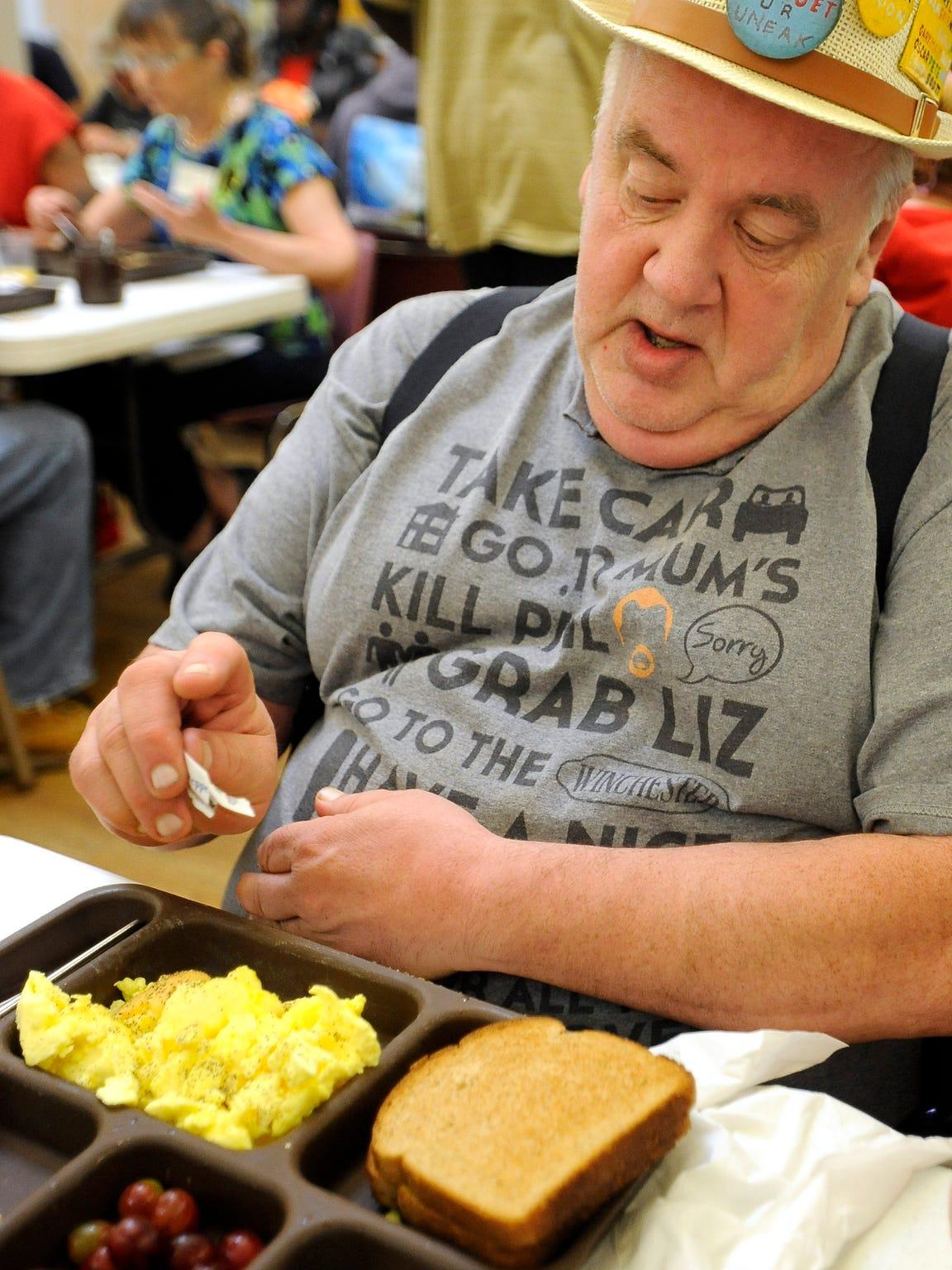 Ray Feller has breakfast at The Banquet.