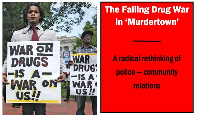A poster advertises an upcoming panel called The Failing Drug War in 'Murdertown' on March 12.