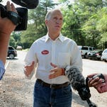 Thom Tillis, speaker of the North Carolina House, speaks to reporters on primary day.