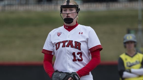 Utah pitcher Katie Donovan, from South Salem, beat Oregon on Friday night.