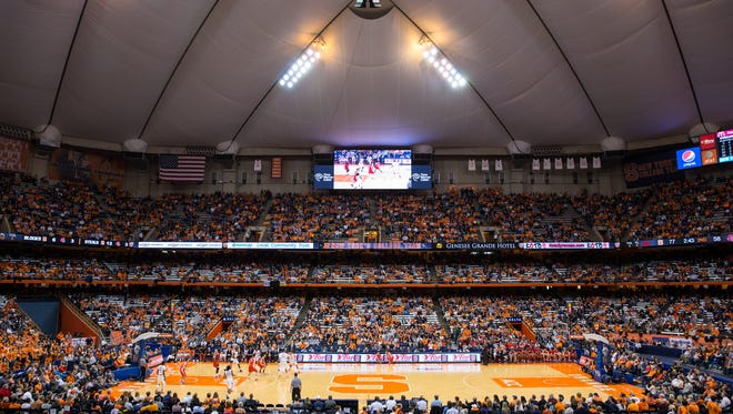 View of the Syracuse Orange basketball game against the Cornell Big Red on Nov. 8, 2013 at the Carrier Dome in Syracuse.