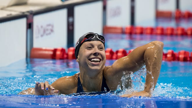 Michelle Konkoly USA celebrates winning the Women's 50m Freestyle - S9 Swimming Final at the Paralympics in Rio de Janeiro on Tuesday.