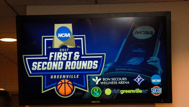 Greenville will host teh first two rounds of the NCAA men'g basketball tournament at the Bon Secous Wellness Arena.