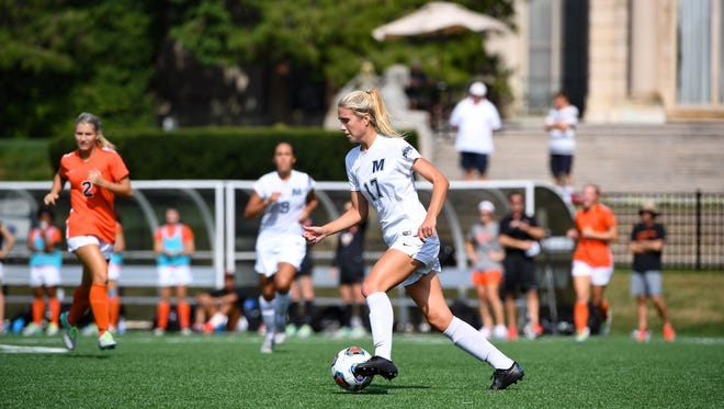 Monmouth's Madie Gibson, who leads the Hawks with 12 goals, and her teammates take on Virginia in the opening round of the NCAA Tournament on Friday.
