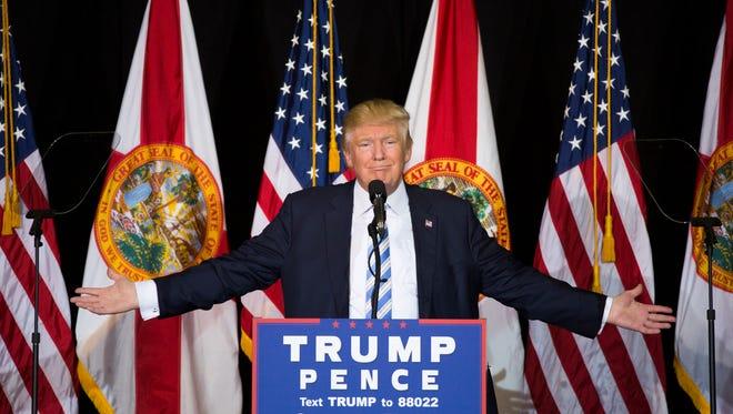 Republican candidate Donald Trump speaks at Robarts Arena on the Sarasota fairgrounds on Monday, Nov. 7, 2016, in Sarasota, Florida.