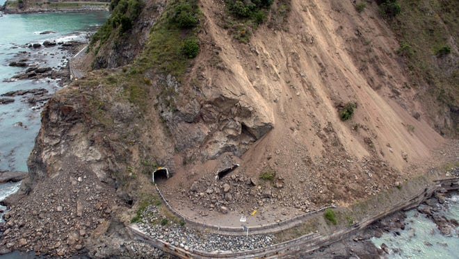 The aerial photo shows the damage to a state highway near Kaikoura, New Zealand Monday, Nov. 14, 2016 after a powerful earthquake. A powerful earthquake that rocked New Zealand on Monday triggered landslides and a small tsunami, cracked apart roads and homes, but largely spared the country the devastation it saw five years ago when a deadly earthquake struck the same region.
