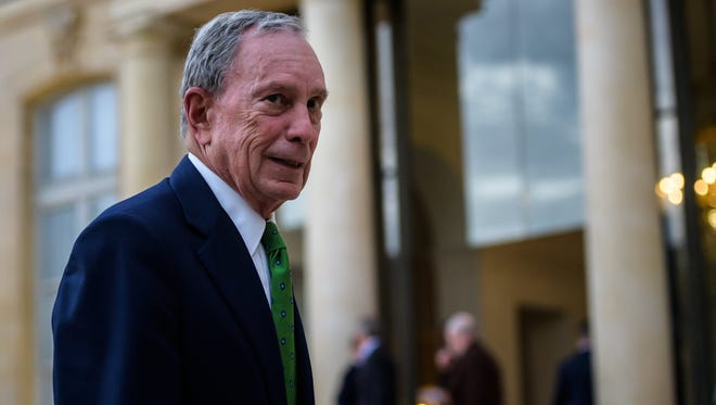 Michael Bloomberg leaves the Elysee Palace after a meeting with French president Emmanuel Macron and Paris Mayor Anne Hidalgo in Paris on Friday.