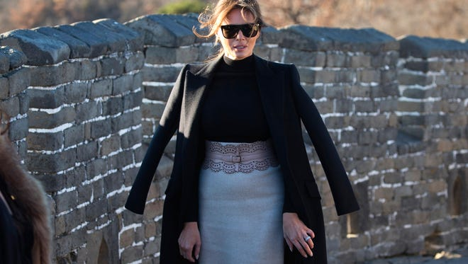 U.S. first lady Melania Trump walks along the Mutianyu Great Wall section in Beijing on Nov. 10, 2017.