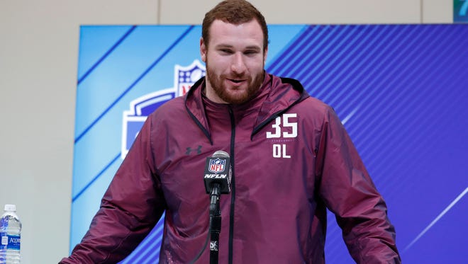 Arkansas Razorbacks offensive lineman Frank Ragnow speaks to the media during the 2018 NFL Combine at the Indianapolis Convention Center.