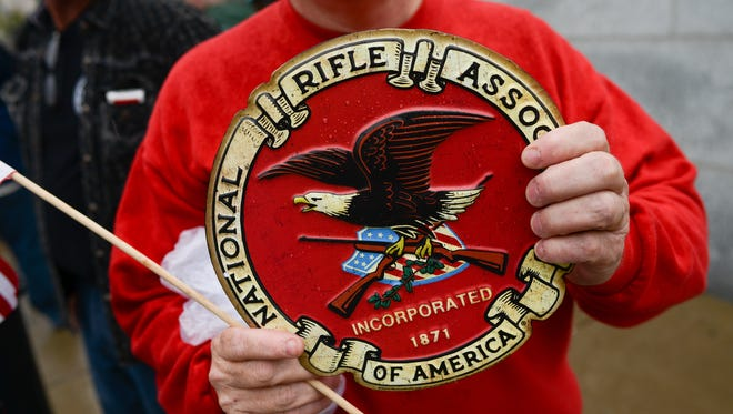 Supporters of gun rights and the Second Amendment gather near the Tennessee State Capitol on April 14.