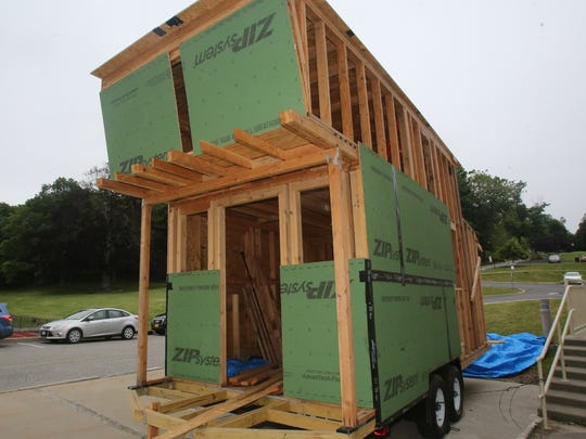 The frame is up in this 300 square foot Tiny House being built by Irvington high school students on June 16, 2017.