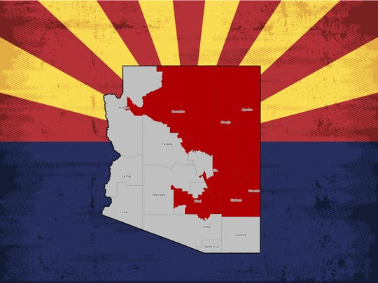 A map of Arizona's 1st Congressional District.