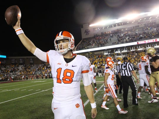 Clemson quarterback Cole Stoudt (18) celebrates after