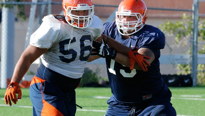 Senior offensive lineman Derek Elmendorff is one of several players that are still on the UTEP football team recruited by interim head coach Mike Price/ Wednesday price watched his first practice since taking over for former head coach Sean Kugler as the Miners prepare for Saturday's homecoming game against defending CUSA Champion Western Kentucky. Price spent most of the first day back on the job taking notes of what he saw.