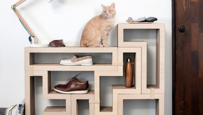 Katris designs modular scratching posts that can double up nicely as people furniture.