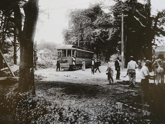 Vintage photo of the trolley that ran between Tenafly
