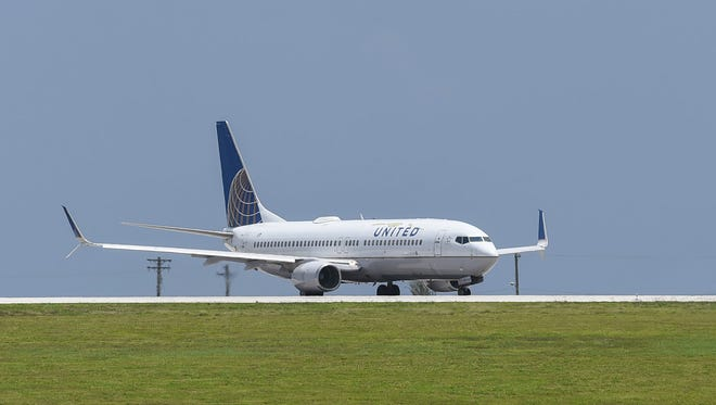 A United Airlines Boeing 737-824 aircraft on the Antonio B. Won Pat International Airport runway on June 25, 2018.