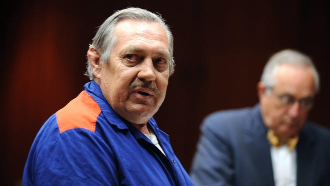 Arthur Ream, who killed 13-year-old Cindy Zarzycki in 1986, stands before Judge Mary Chrzanowski on Thursday, August 7, 2008, at Macomb County Circuit Court in Mt. Clemens. Ream led investigators to Cindy's body.