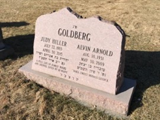 The headstone on the grave of Judy Hiller Goldberg and her husband Al in Mount Nebo Memorial Park outside Denver.
