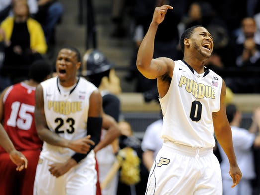 Purdue guard Terone Johnson celebrates taking a 50-34 lead over Indiana inside Mackey Arena, Saturday, February 15, 2014, in West Lafayette.